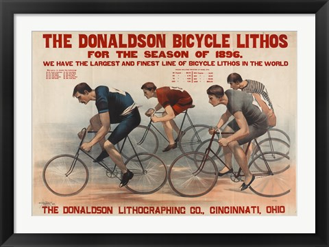 Framed Donaldson Bicycle Lithos for 1896 Season Print