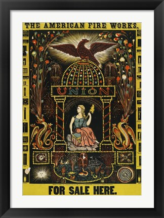 Framed American Fire Works, For Sale Here Print