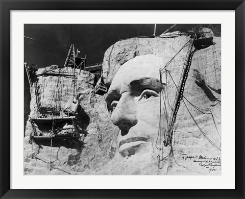 Framed Abraham Lincoln on Mount Rushmore Print