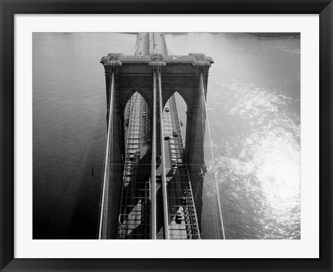 Framed Brooklyn Bridge Tower Aerial Print