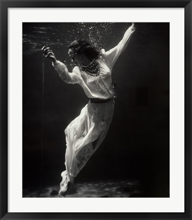 Framed Fashion Model Underwater in Dolphin Tank Print
