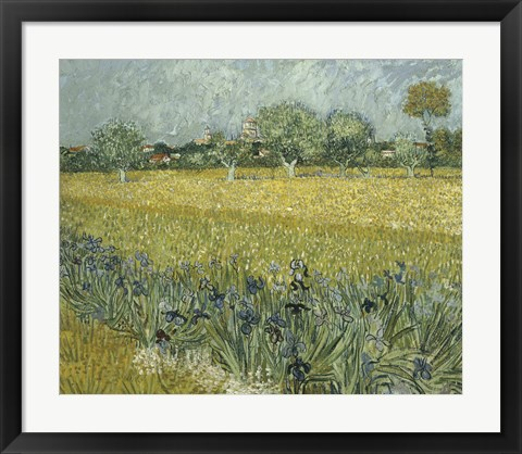 Framed View of Arles with Irises Print