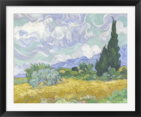 Framed Wheatfield with Cypress Print