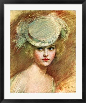 Framed Lady In Green Hat Print