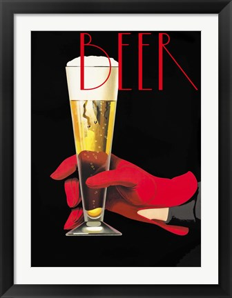 Framed Red Glove Beer Print