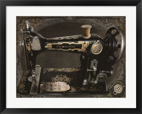 Framed Vintage Sewing Machine Print