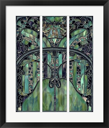 Framed Turquoise Window Jewels Print