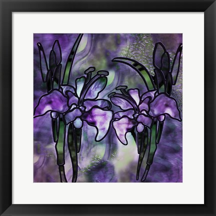 Framed Stained Glass Orchids Print