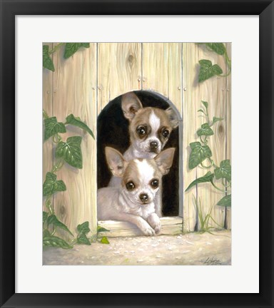 Framed Chihuahua's In Doghouse Print