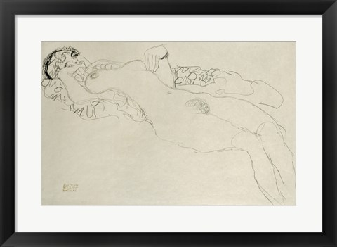 Framed Liegender Maedchenakt Nach Links - Female Nude Turned Left, 1914-1915 Print