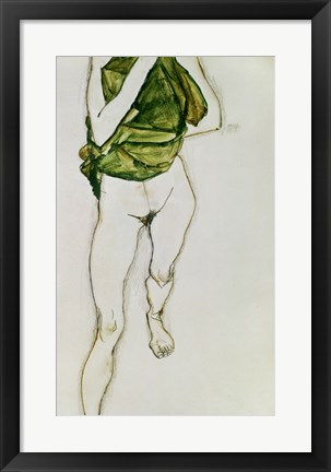 Framed Striding Torso In Green Shirt, 1913 Print