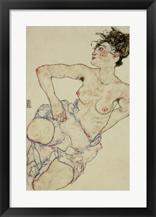 Framed Kneeling Female Semi-Nude, 1917 Print