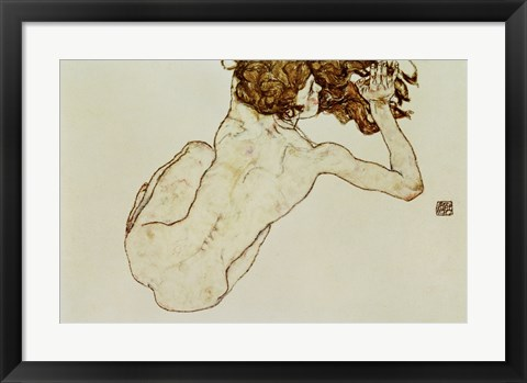Framed Crouching Nude Print
