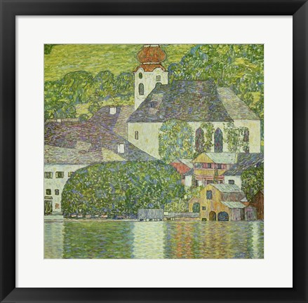 Framed Kirche in Unterach am Attersee - Church in Unterach on Attersee Print