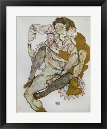 Framed Seated Couple (Egon Und Edith Schiele), 1915 Print