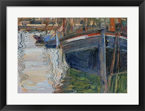 Framed Boats Mirrored In The Water, 1908 Print