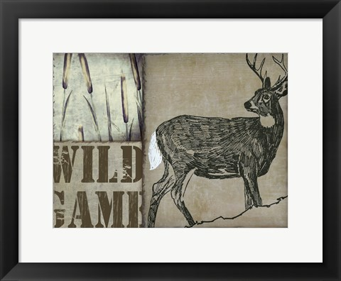 Framed Deer with white tail Print