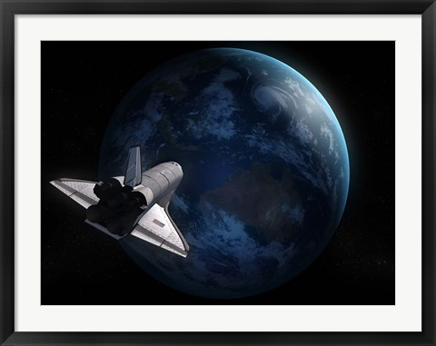 Framed Space Shuttle Against Earth Print