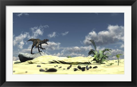 Framed Utahraptor Bellows a Loud Roar Print