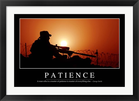 Framed Patience: Inspirational Quote and Motivational Poster Print
