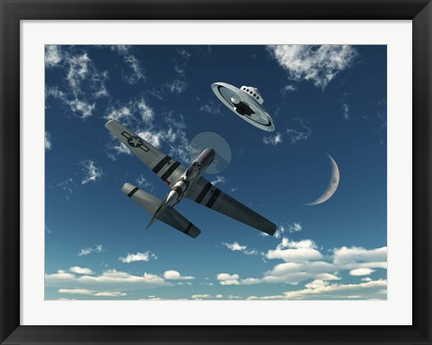 Framed American P-51 Mustang and UFO Print