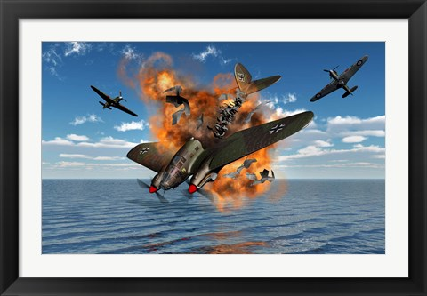 Framed German Heinkel Bomber Crash Print