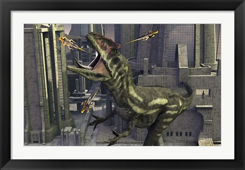Framed Allosaurus and Robotic Devices Print