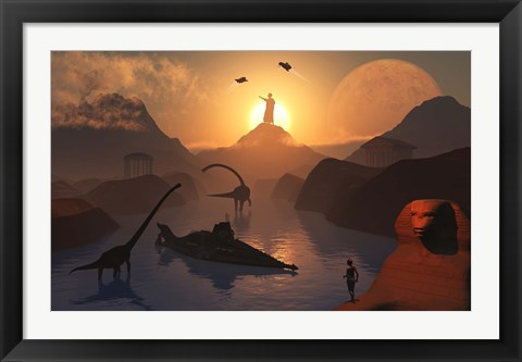 Framed City of Atlantis and Dinosaurs Print