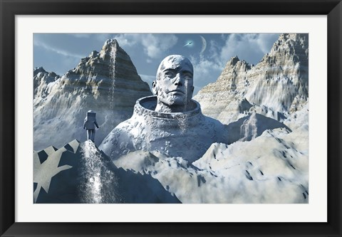 Framed Lone Astronaut looking at Statue Print