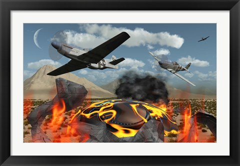 Framed American P-51 Mustang Fighter Print