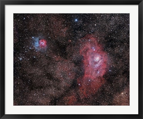 Framed Lagoon Nebula and Trifid Nebula in Sagittarius Print