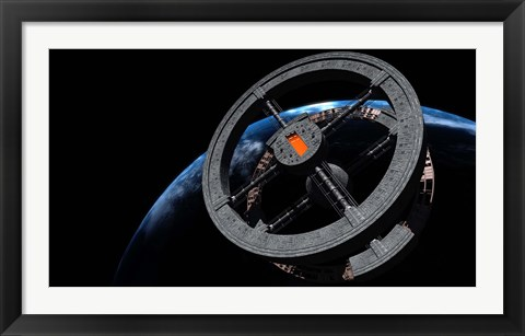 Framed Space Station 5 in Earth Orbit Print