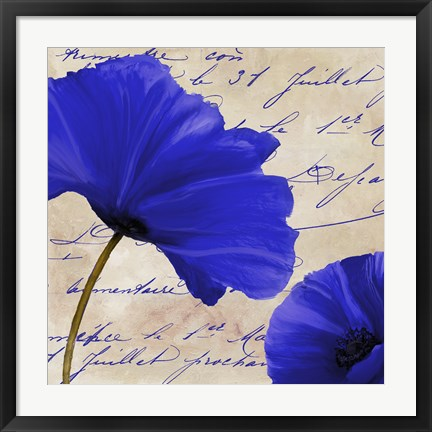 Framed Coquelicots Bleues II Print