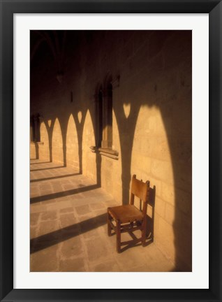 Framed Bellver Castle Chair and Arches, Palma de Mallorca, Balearics, Spain Print