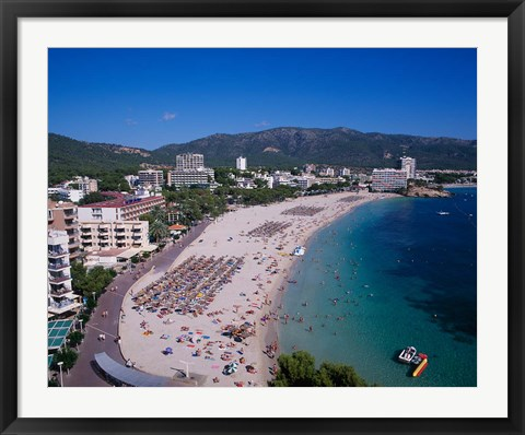 Framed Palma Nova Beach, Majorca, Balearics, Spain Print