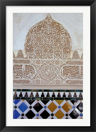 Framed Alhambra with Carved Muslim Inscription and Tilework, Granada, Spain Print