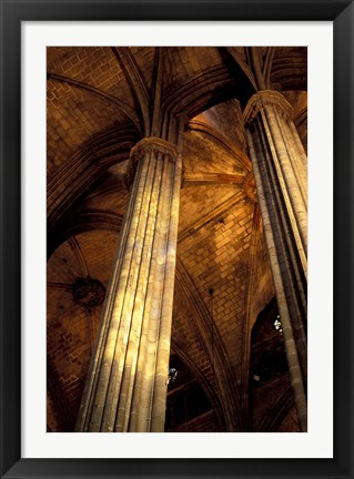 Framed Columns and Ceiling of St Eulalia Cathedral, Barcelona, Spain Print