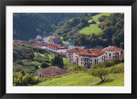 Framed Coastal Town View, Ibarrangelu, Spain Print