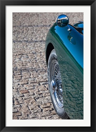 Framed Spain, Avila, classic car 1950s Jaguar XK-150S Print