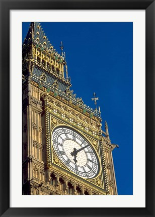 Framed Big Ben Clock Tower on Parliament Building in London, England Print