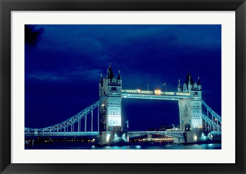 Framed Tower Bridge Spanning the River Thames in London, England Print