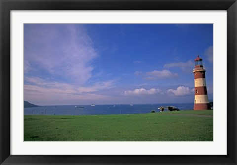 Framed Lighthouse of Plymouth Hoe, Plymouth, England Print