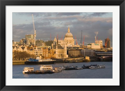 Framed North Bank of The Thames River, London, England Print