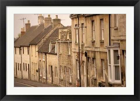 Framed High Street Buildings, Cotswold Village, Gloucestershire, England Print
