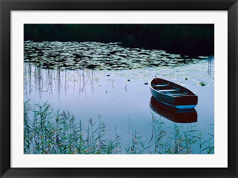 Framed Rowboat on Lake Surrounded by Water Lilies, Lake District National Park, England Print