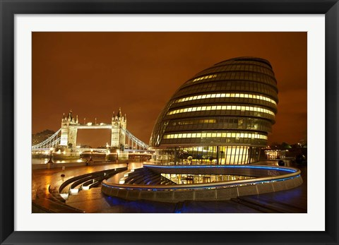 Framed Tower Bridge, City Hall, London, England Print