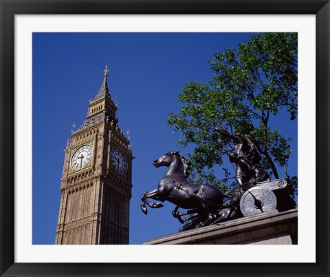 Framed Big Ben and Statue of Boadicea, London, England Print