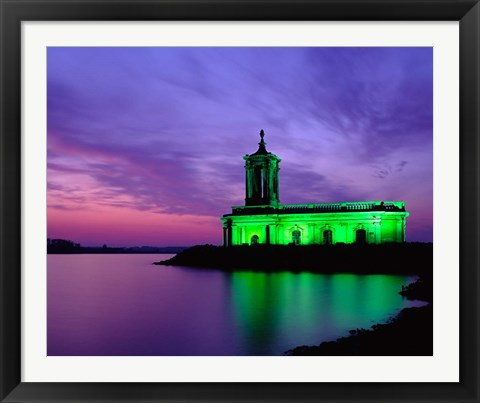 Framed Church at Rutland Water at Sunset, Leicestershire, England Print