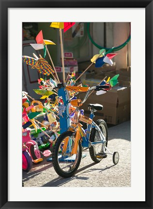 Framed Bicycle Outside Toy Shop, Lesvos, Mytilini, Aegean Islands, Greece Print