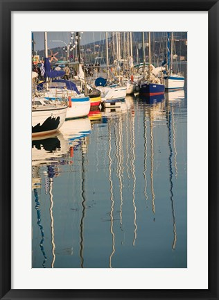 Framed Sailboat Reflections, Southern Harbor, Lesvos, Mithymna, Northeastern Aegean Islands, Greece Print